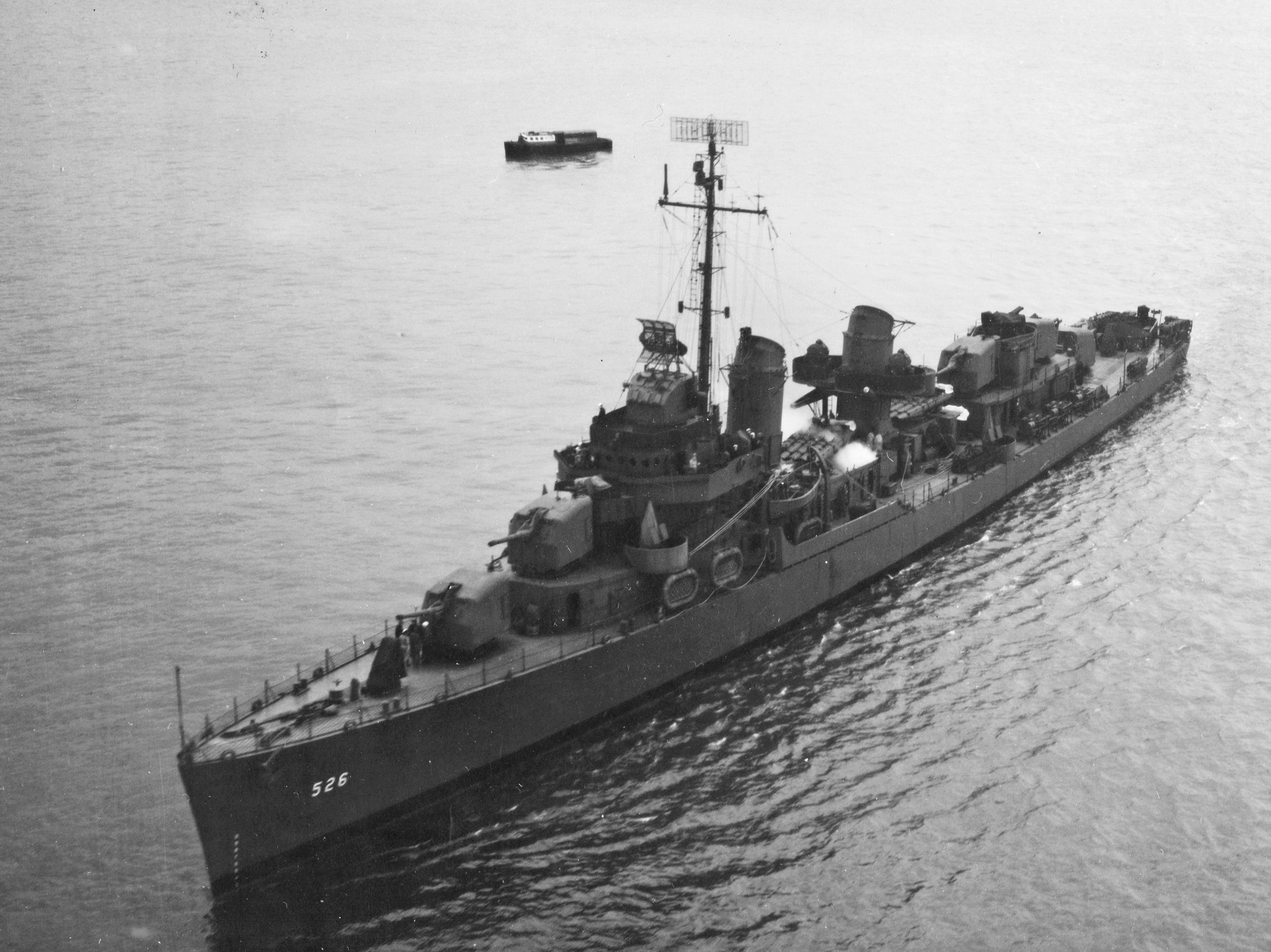 This undated U.S. Navy photo, provided by the National Archives, shows the destroyer USS Abner Read at sea. The Abner Read hit a mine left by the Japanese after they abandoned Kiska Island in Alaska's Aleutian Islands in 1943, ripping the stern off. But the ship never sank and was refitted and returned to duty. Now, 75 years after the ship's stern broke off, it has been located off Kiska by a team of scientists funded by the U.S. government. (U.S. Navy/National Archives via AP)