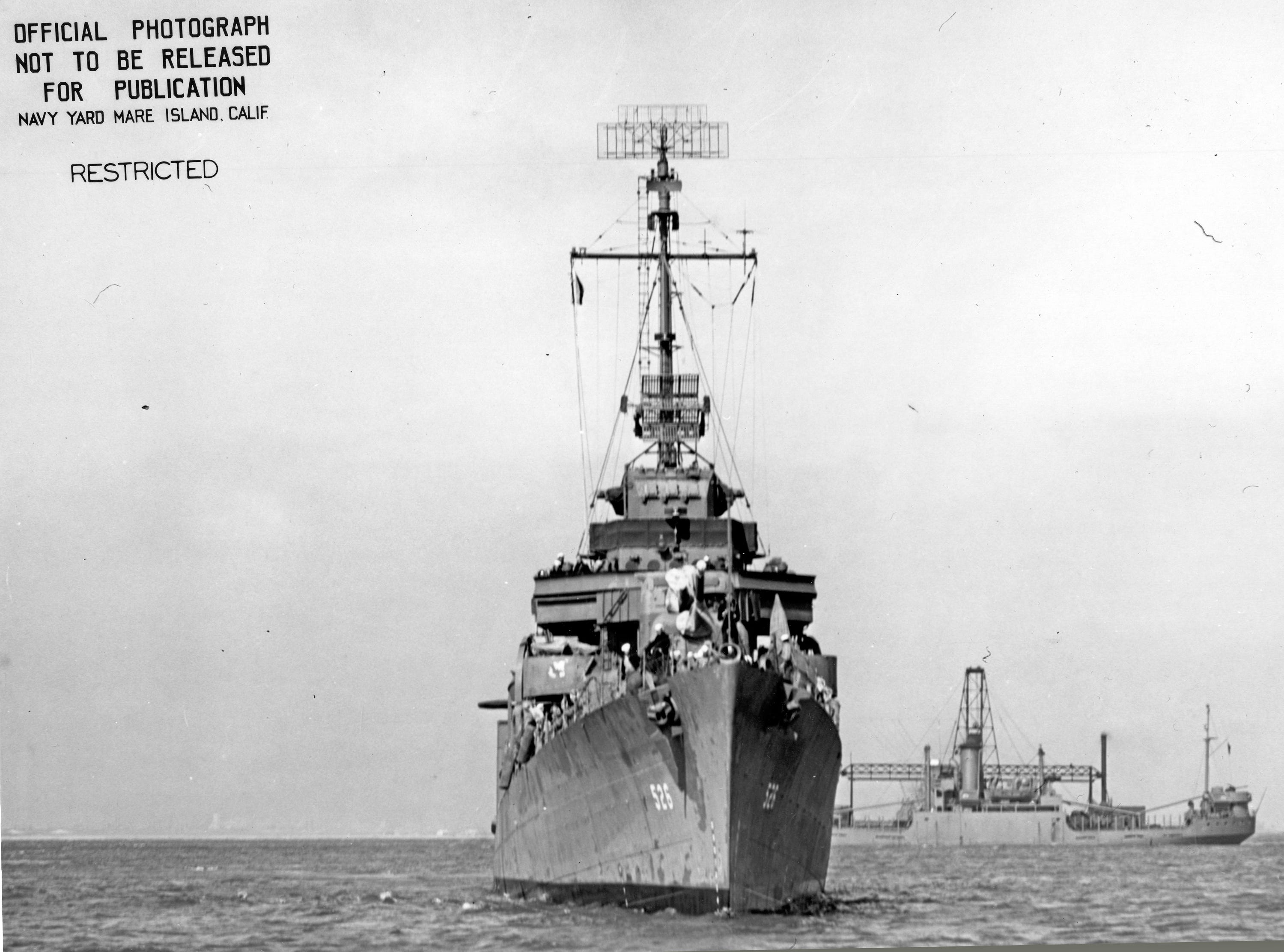 This undated U.S. Navy hoto, provided by the National Archives, shows the destroyer USS Abner Read at sea. The Abner Read hit a mine left by the Japanese after they abandoned Kiska Island in Alaska's Aleutian Islands in 1943, ripping the stern off. But the ship never sank and was refitted and returned to duty. Now, 75 years after the ship's stern broke off, it has been located off Kiska by a team of scientists funded by the U.S. government. (U.S. Navy/National Archives via AP)