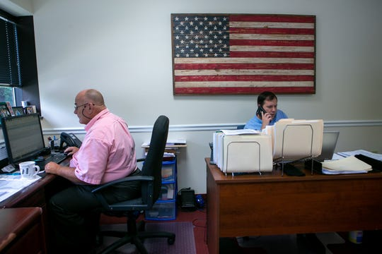 Compliance officer Richard Wilson (left) and mortgage loan officer Joseph Rychalsky work in the office. Mortgage Network Solutions is chosen as the winner of the Small Company category and the special award for New Ideas. The family run company was founded in 2014 and 35 of their 40 employees are in Delaware.