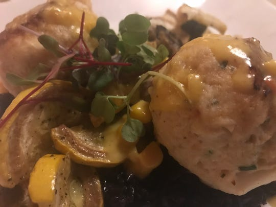 Krazy Kat's restaurant is known for its jumbo lump crab cakes made with shrimp mousse.