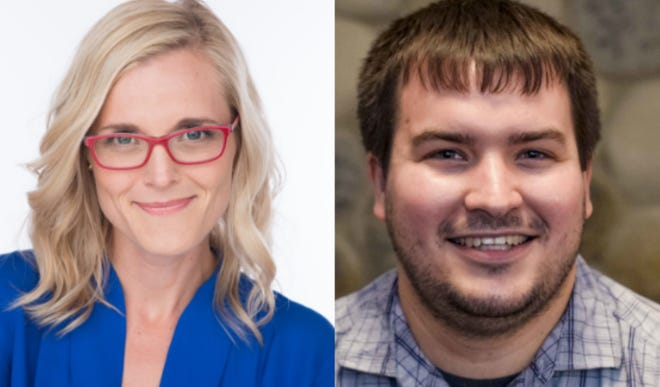 Sarah Godlewski (left) and Travis Hartwig (right)