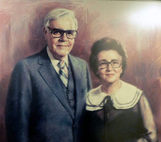 This painting shows Leonard and Dolores Gentine who founded a dynasty.