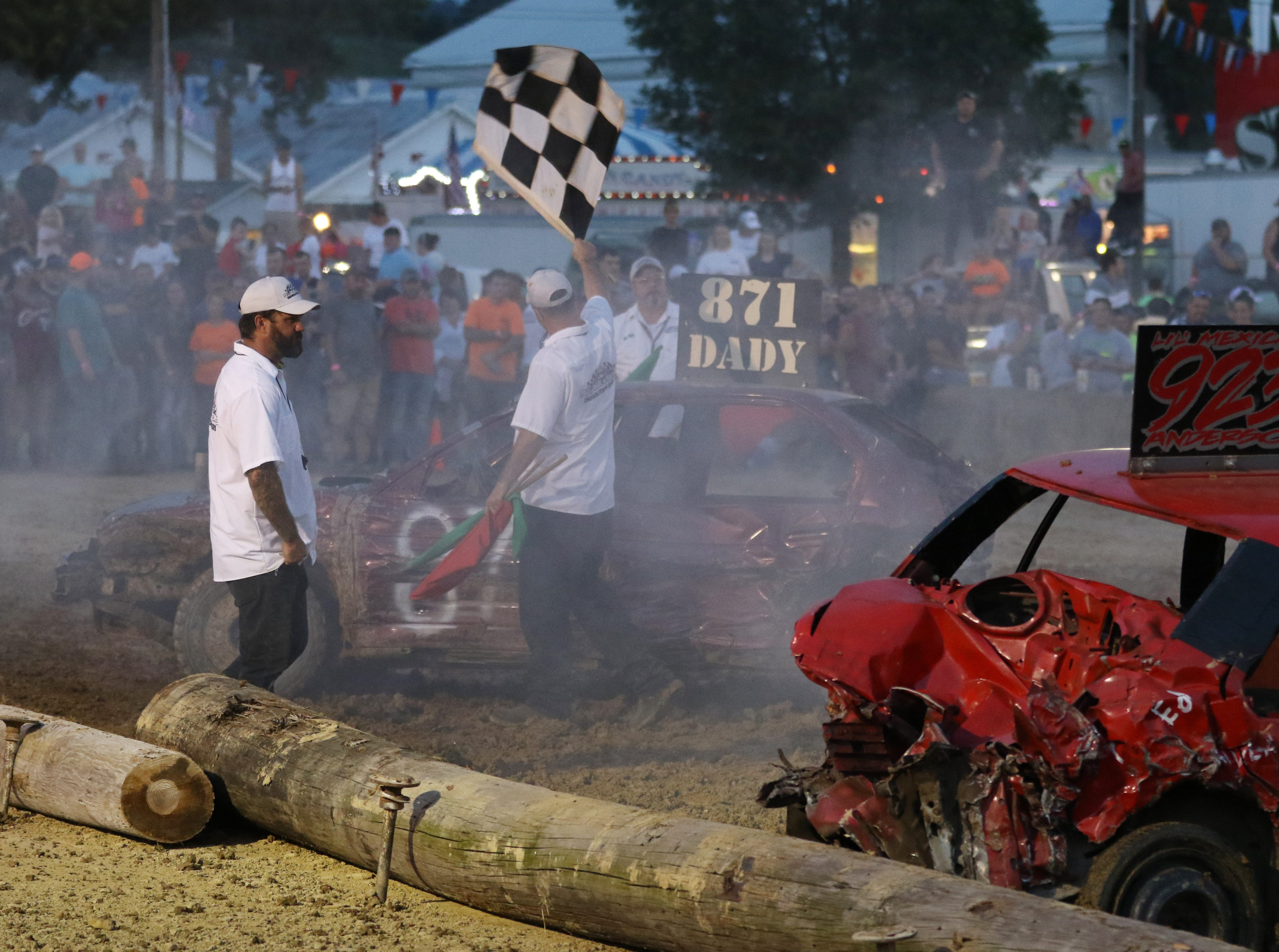 Jim Dady wins the second heat of the Sarge and Sons Demolition Derby at the Muskingum County Fair on Tuesday.