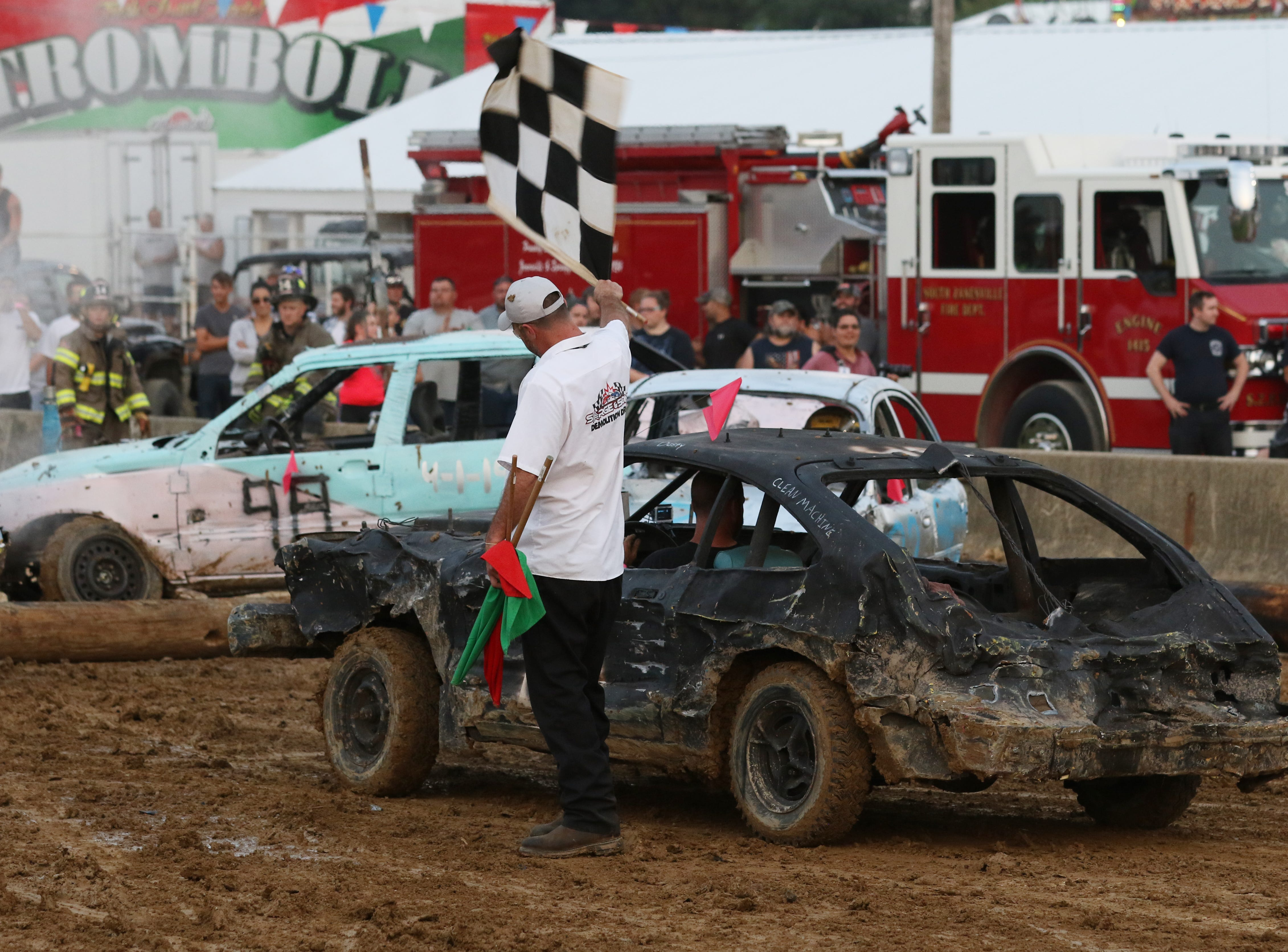 Dusty Dady wins his final race at the Muskingum County Fair during the Sarge and Sons Demolition Derby on Tuesday.