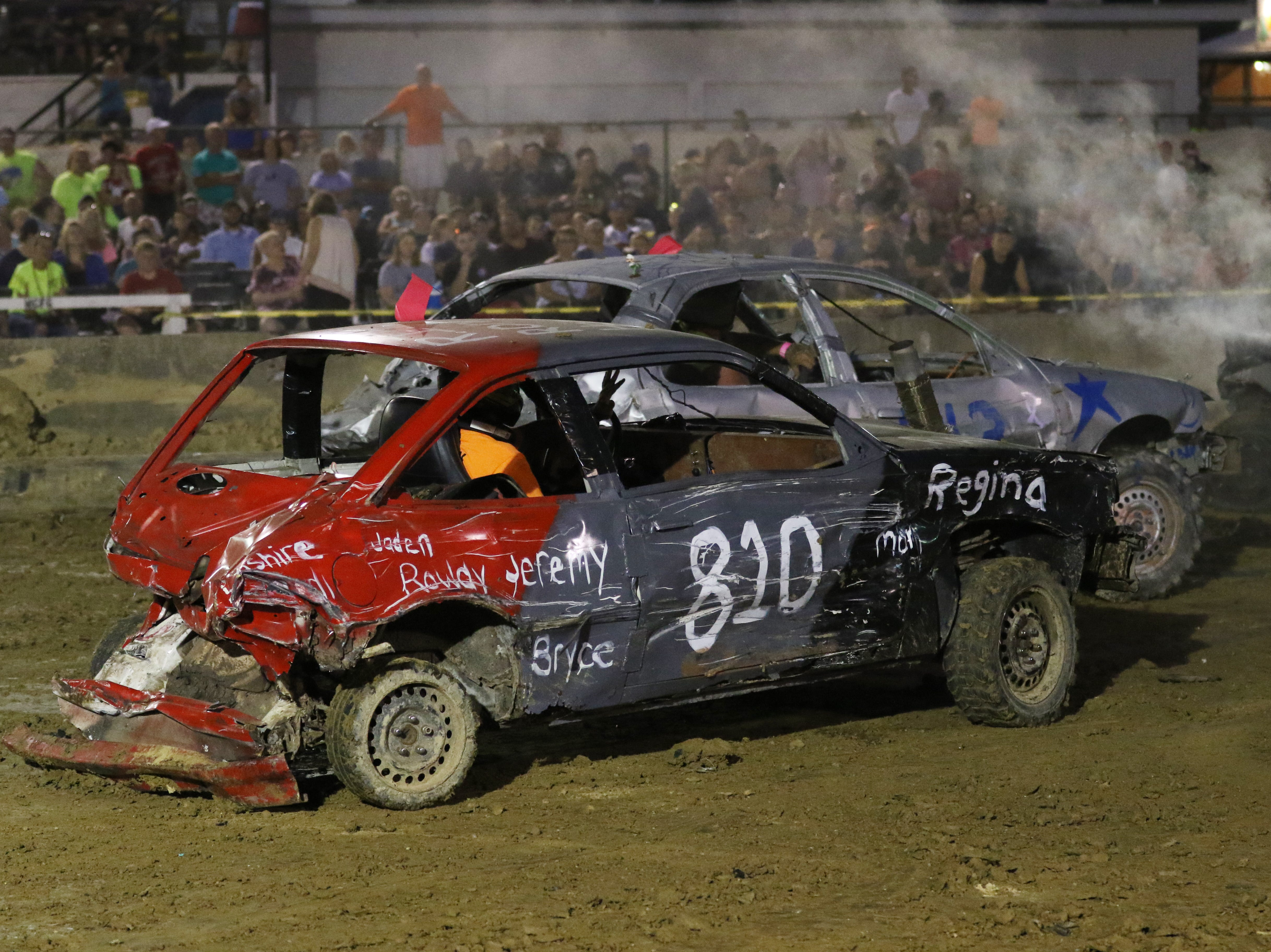The sagging rear of Robert Anderson's 88 Chevy number 810 car doesn't stop him from taking aim at competitors during the Sarge and Sons Demolition Derby at the Muskingum County Fair on Tuesday.