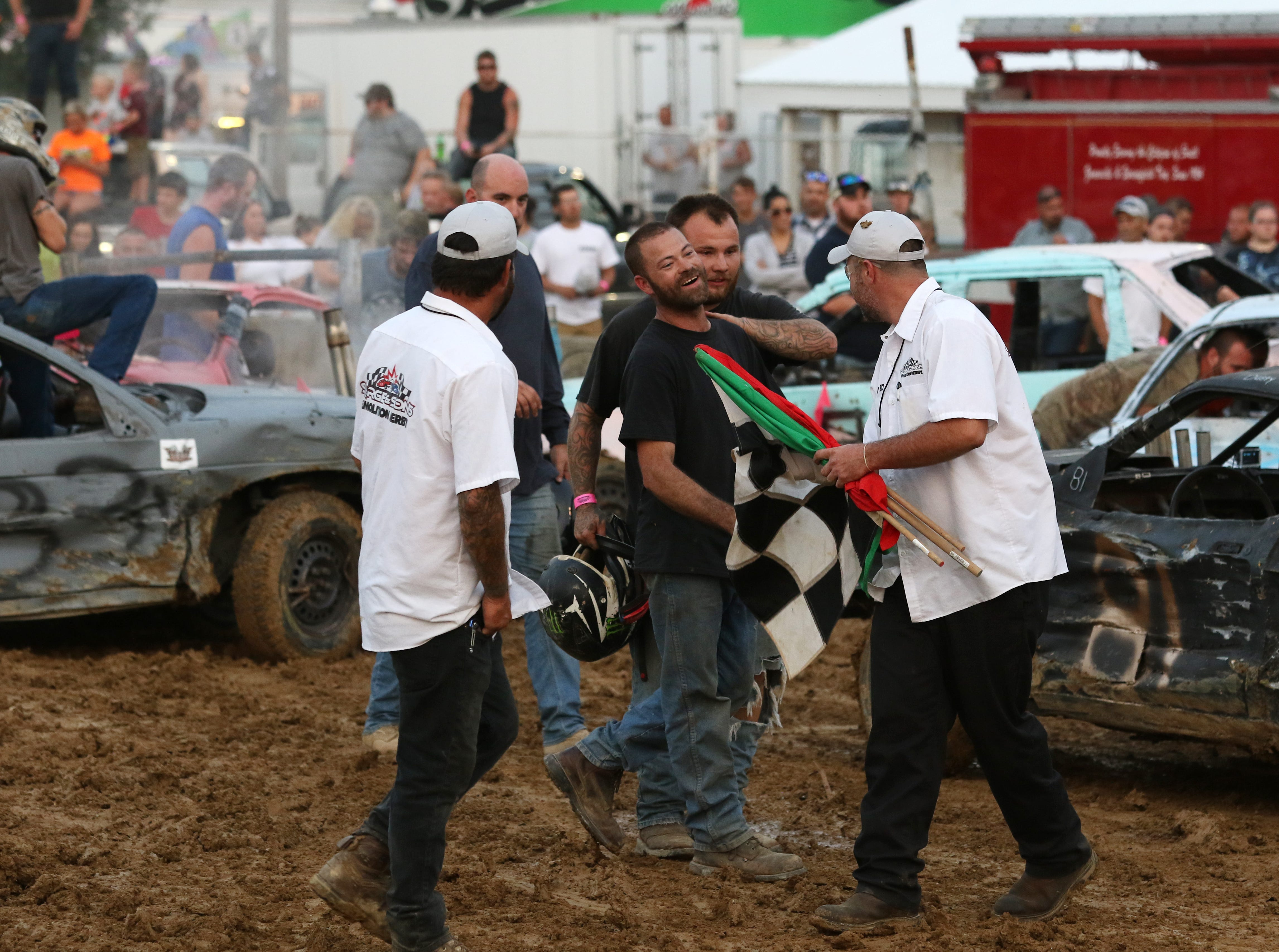 Long-time Demolition Derby driver Dusty Dady ends his Muskingum County Demolition Derby career with a win on Tuesday.
