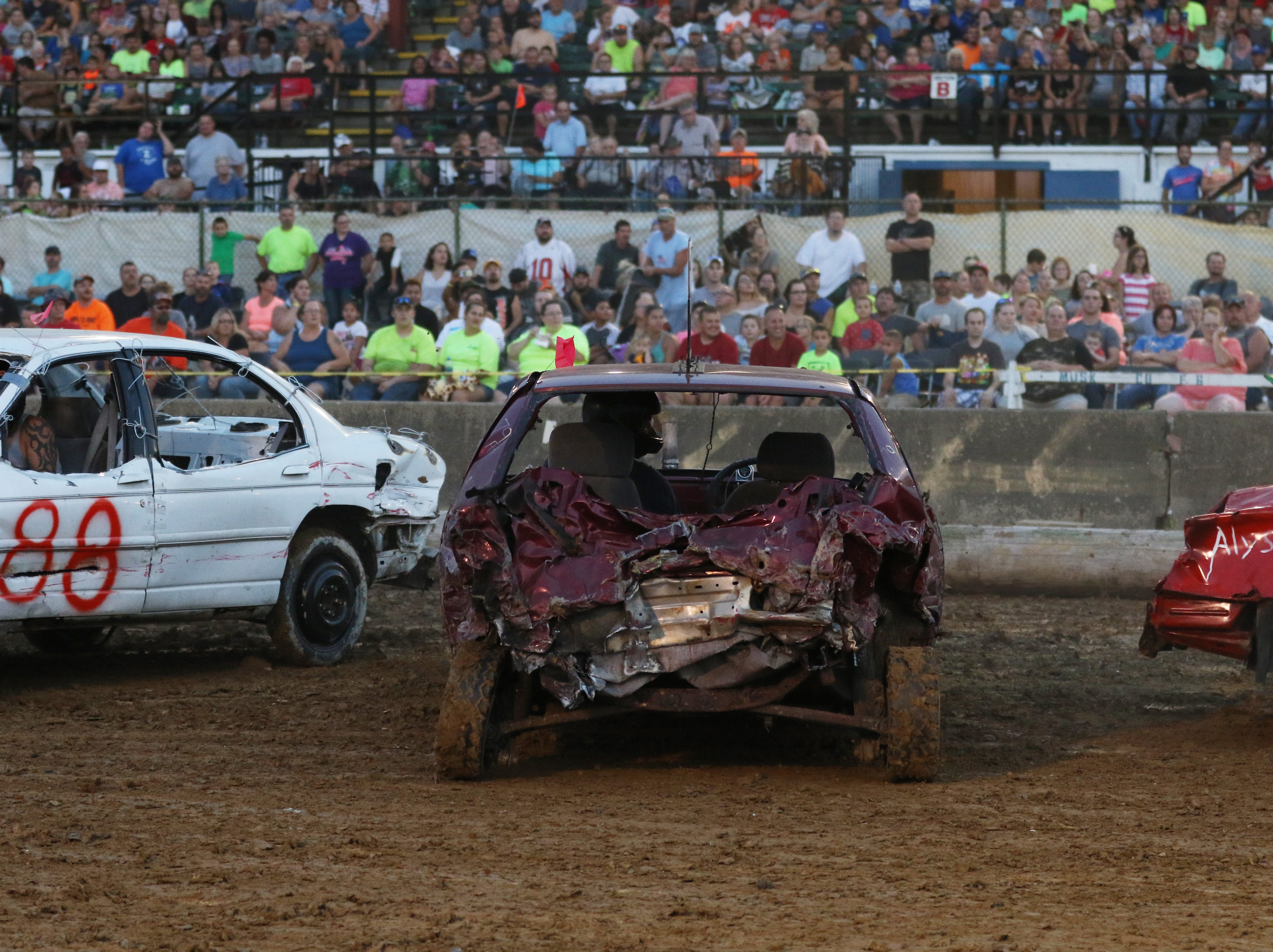 Jim Dady during the Sarge and Sons Demolition Derby at the Muskingum County Fair on Tuesday.