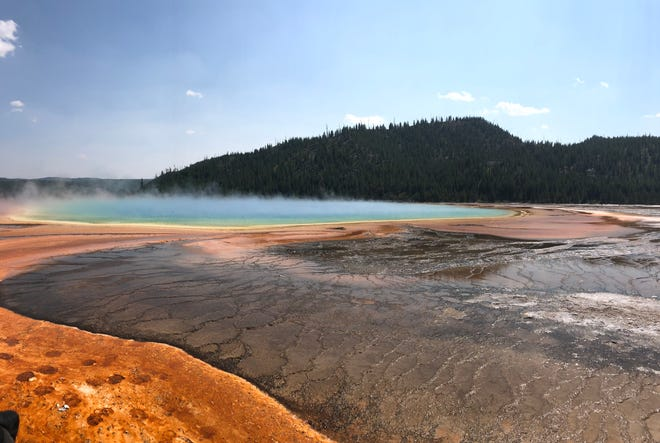 Grand Prismatic Spring is one of Yellowstone National Park's main attractions.