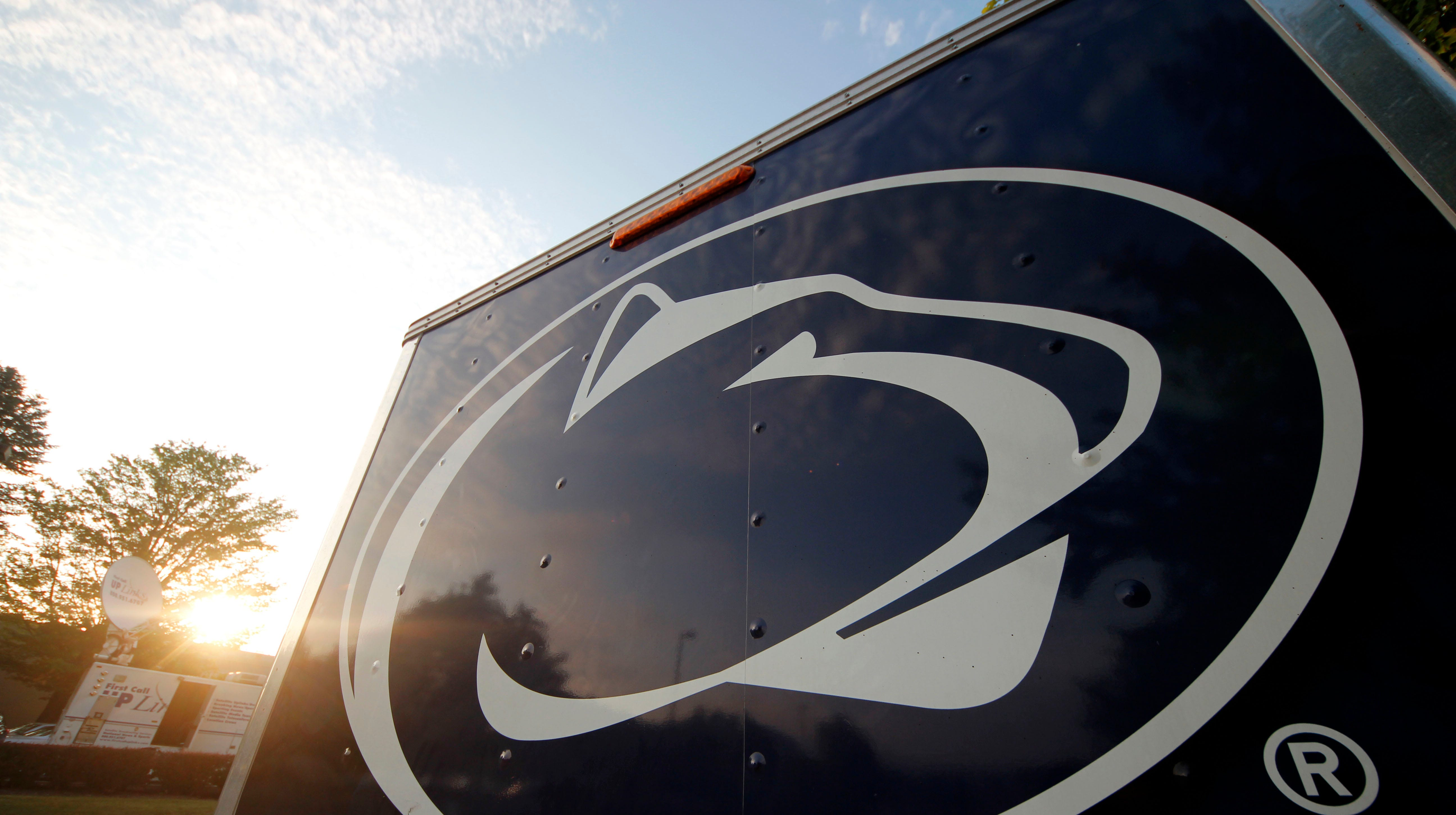 This is a Penn State University logo on the side of a merchandise trailer outside Beaver Stadium.