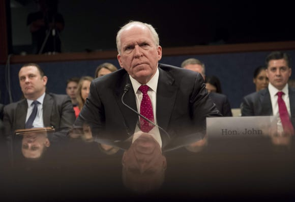 (FILES) In this file photo taken on May 23, 2017, former CIA Director John Brennan testifies during a House Permanent Select Committee on Intelligence hearing about Russian actions during the 2016 election on Capitol Hill in Washington, DC. - US President Donald Trump on Wednesday, August 15, 2018 revoked security clearance for former CIA Director John Brennan. (Photo by SAUL LOEB / AFP)SAUL LOEB/AFP/Getty Images ORG XMIT: Trump rev ORIG FILE ID: AFP_18E1DM