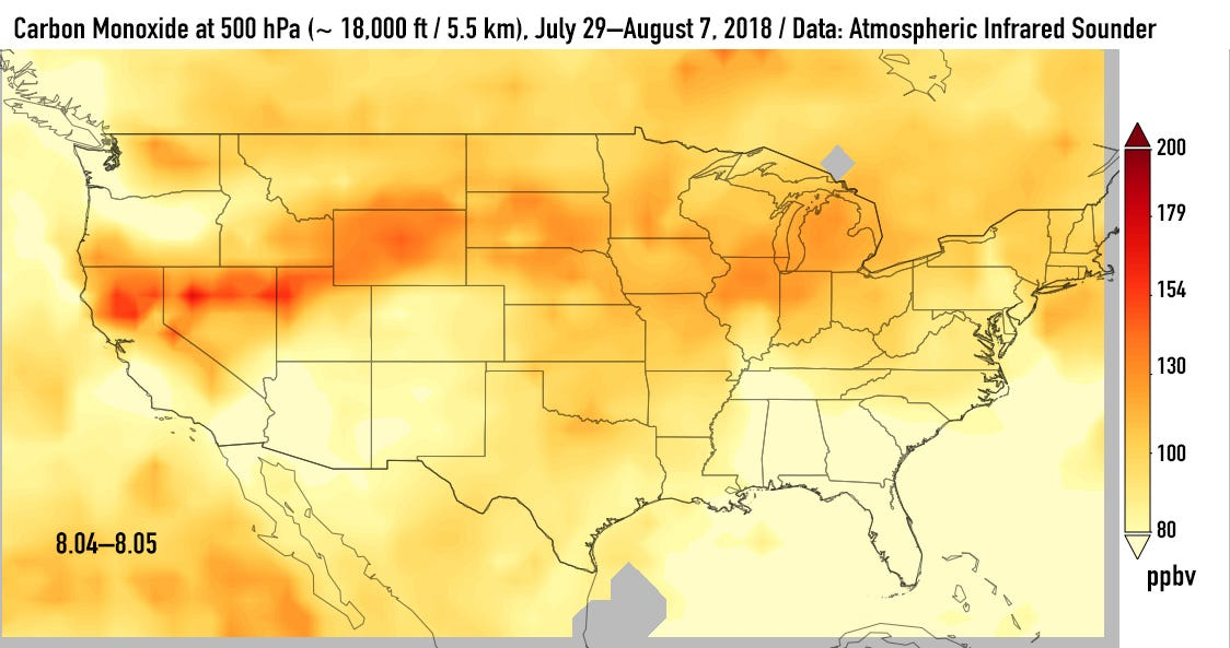 Smoke, carbon monoxide from California wildfires drifting all the way to the East Coast