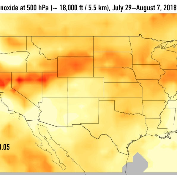 Carbon monoxide (in red and orange) from fires in California has drifted all the way across the country.