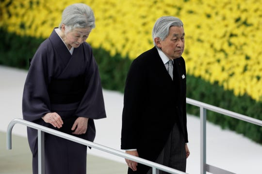 epa06950434 Japanese Emperor Akihito (R) and Empress Michiko (L) leave a memorial service at Nippon Budokan Hall in Tokyo, Japan, 15 August 2018. The annual ceremony marked the 73rd anniversary of the end of World War II, held in remembrance of the Japanese soldiers and civilians who lost their lives during the conflict. This will be Emperor Akihito last memorial service as he will abdicate on 30 April 2019.  EPA-EFE/KIYOSHI OTA ORG XMIT: KOT19