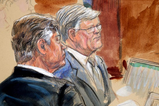 This courtroom sketch depicts former Donald Trump campaign chairman Paul Manafort, left, listening with his lawyer Kevin Downing to testimony as Manafort's trial continues in Alexandria, Va., on Aug. 7, 2018.