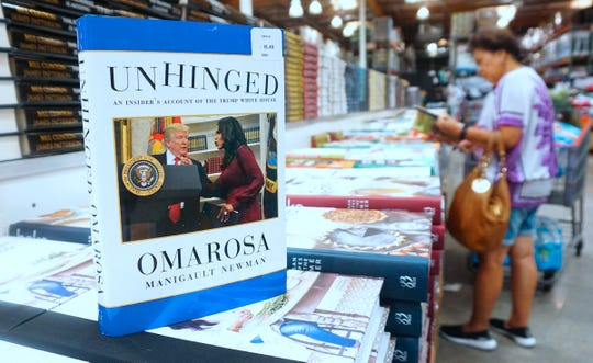 "Omarosa Manigualt Newman's book ""Unhinged"" for sale in Alhambra, Calif. on Aug. 4, 2018."