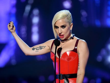 Lady Gaga speaks onstage during the 2018 MTV Movie And TV Awards on June 16, 2018 in Santa Monica, Calif.