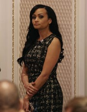 Then Trump campaign spokeswomen Katrina Pierson at the Trump International Hotel, Sept. 16, 2016 in Washington.