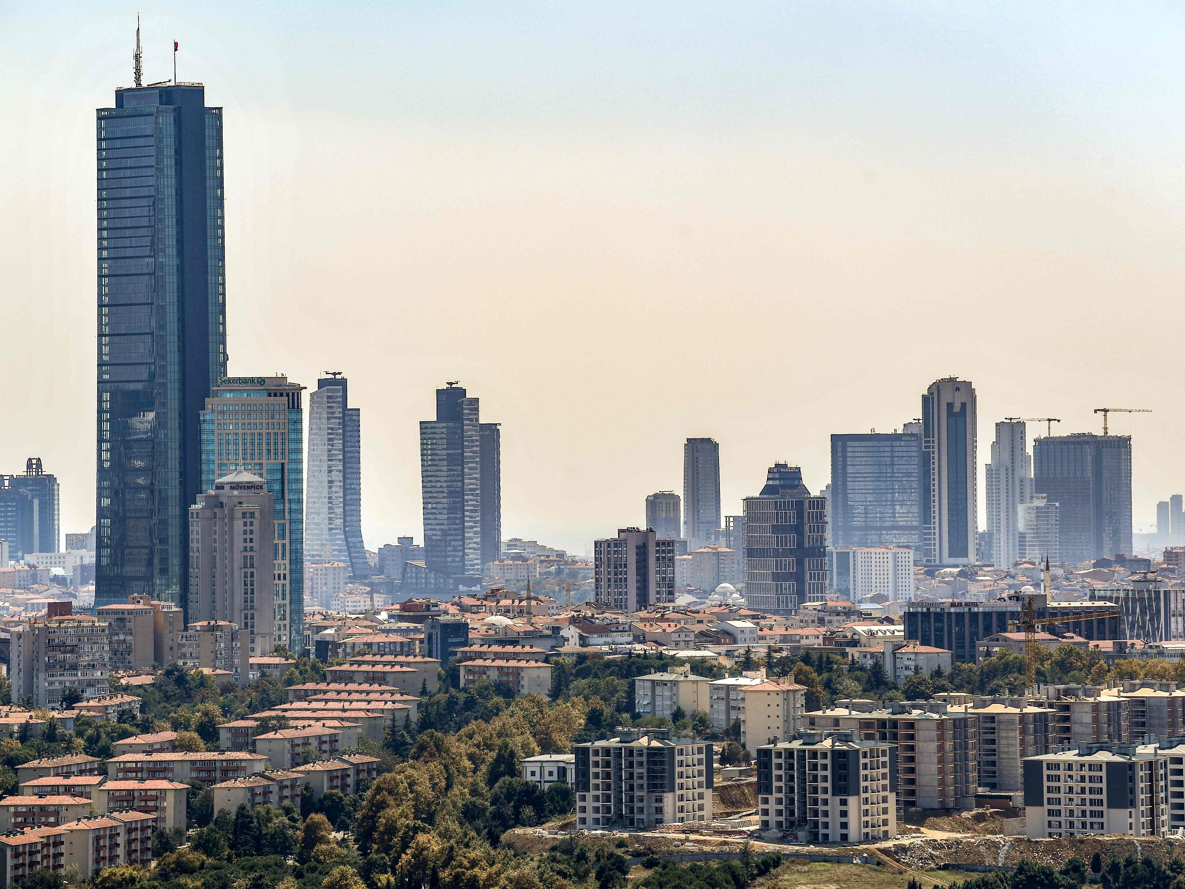 Skyscrapers are pictured at the financial and business district Maslak on Aug. 15, 2018 in Istanbul.
