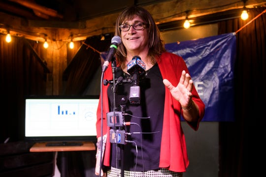 Christine Hallquist gives a primary victory speech at the Skinny Pancake on Aug. 14, 2018, in Burlington, Vermont.