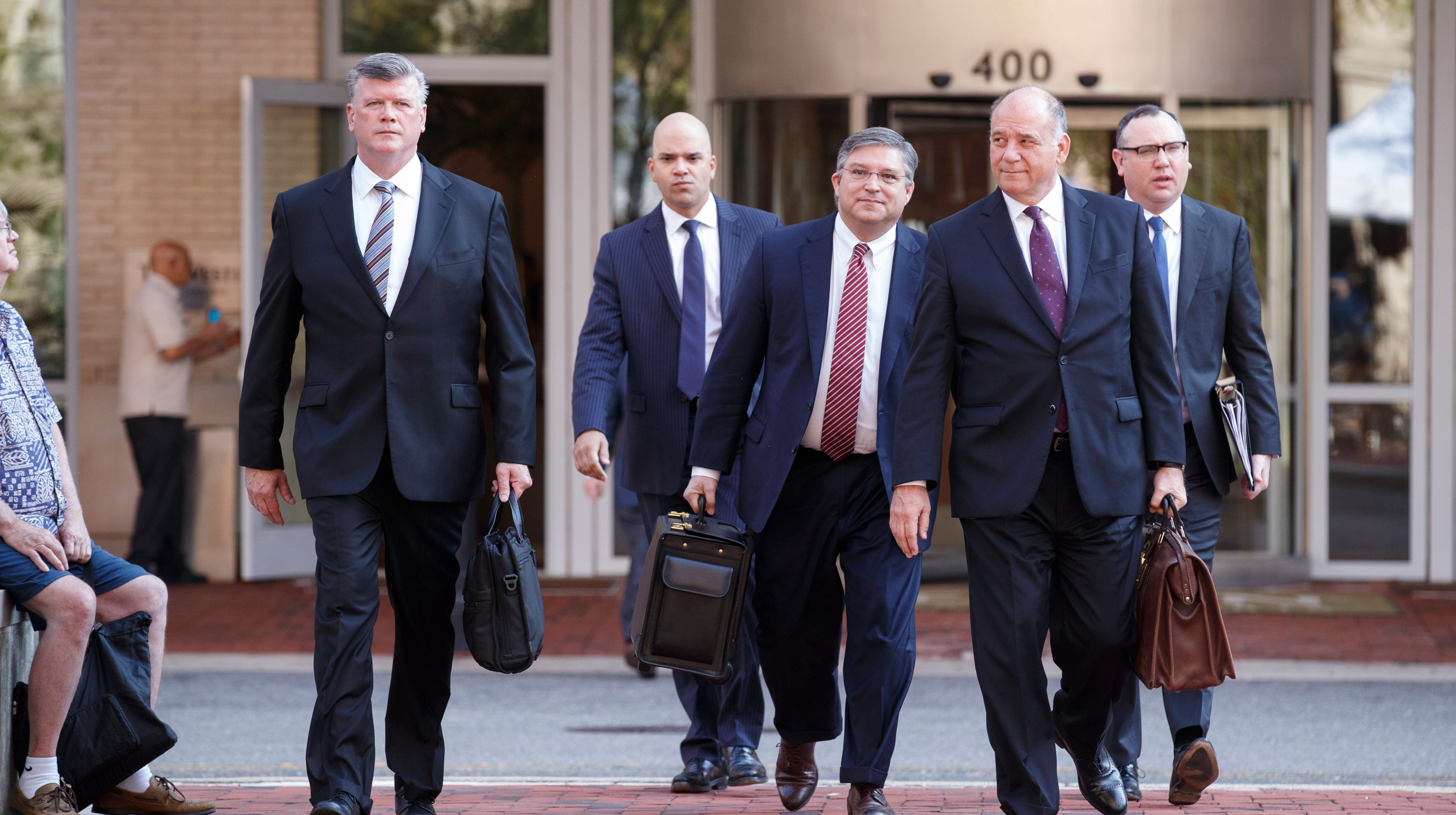 epa06951198 Kevin Downing (L), Jay Nanavati (2-L), Richard Westing (C), Thomas Zehnle (2-R) and Brian Ketcham (L), attorneys representing former US Predisent Donald J. Trump's campaign chairman Paul Manafort, arrive to US District Court for the ongoing Manafort trial in Alexandria, Virginia, USA, 15 August 2018. Manafort is facing over a dozen charges including tax evasion and bank fraud.  EPA-EFE/SHAWN THEW ORG XMIT: STX01