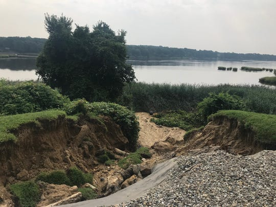 Monday's storm washed away portions of Shawn and Cynthia Dunphy's backyard in Brick.