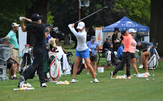 Many of the field of 144 golfers spent Thursday practicing at the Battle Creek Country Club for the start of the Symetra Tour FireKeepers Casino Hotel Championship, which starts Friday.