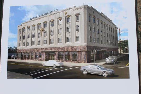 The Church of Scientology  has updated its exterior plan for the former Hart Hotel. The church's sign will now run vertically down the side of the building.