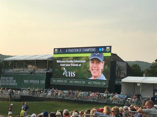 Annika Sorenstam led the UHS Golf Expo in Endicott Wednesday.
