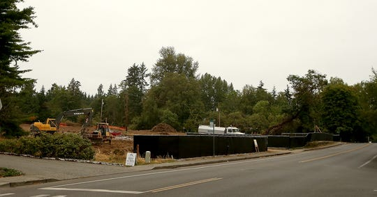Construction site along Madison Avenue across from the Wallace Way NE intersection on Bainbridge Island.