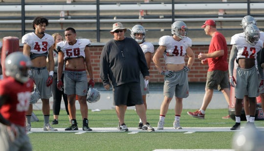 Tracy Claeys, center, is Washington State's new defensive coordinator. Claeys replaced highly regarded Alex Grinch, who left for Ohio State.