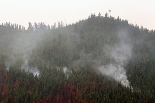 Smoke from the Maple Fire in the Olympic National Forest on Aug. 15.