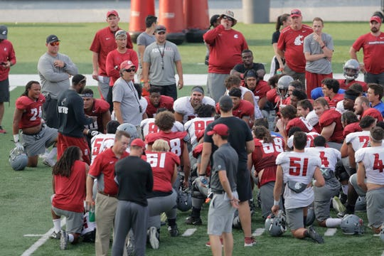 Washington State head coach Mike Leach talks to his team at the end of practice Thursday in Pullman, Wash. WSU finished 9-4 last season, winning all seven of their home games, but they stumbled in their final two games, losing to cross-state rival Washington and getting beat by Michigan State in the Holiday Bowl.