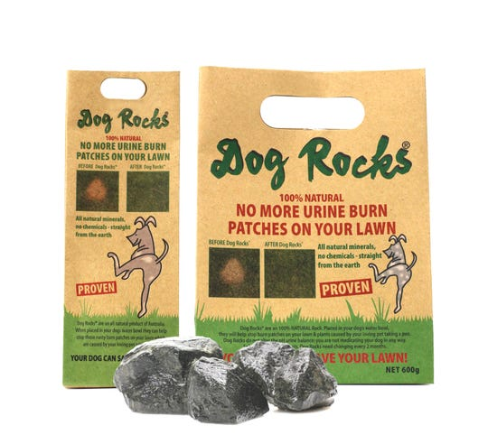 Dog Rocks is a safe, non-toxic, easy and chemical-free way to eliminate pet urine burn marks on the lawn.
