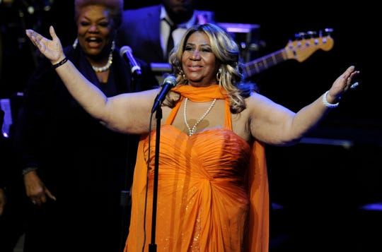 Singer Aretha Franklin performs at the Nokia Theatre L.A. Live on July 25, 2012 in Los Angeles, California.