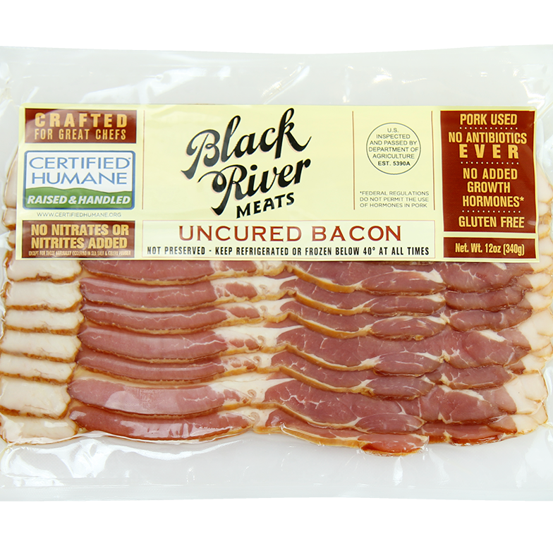 Black River Meats famous bacon label as seen from its less well known angle, the front side. The North Springfield, Vermont company makes thick cut bacon that is certified humane.