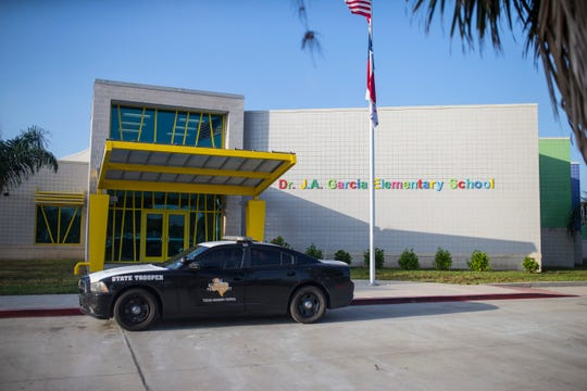 CCISD officials meet to announce the new community partnership between CCISD police department and local Department of Public Safety troopers on Thursday, August 16, 2018 at Dr. J.A. Garcia Elementary School.