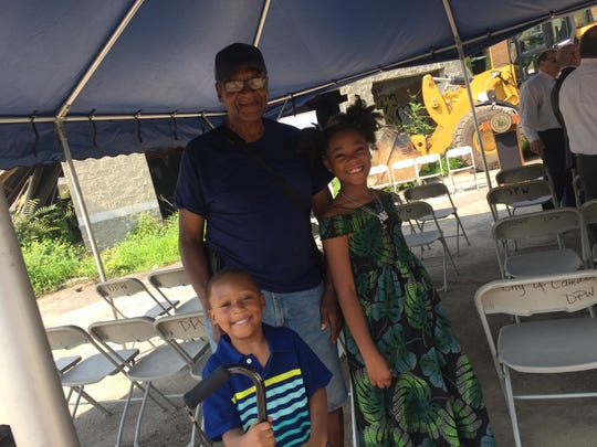 Isaac Wansley and his grandchildren, Serene Anderson and Shereef Coley, visited Whitman Park Wednesday.