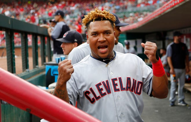 Aug 14, 2018; Cincinnati, OH, USA; Cleveland Indians third baseman Jose Ramirez (11) reacts to the camera before a game against the Cincinnati Reds at Great American Ball Park.