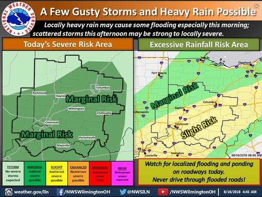 Heavy rain may cause flooding Thursday.