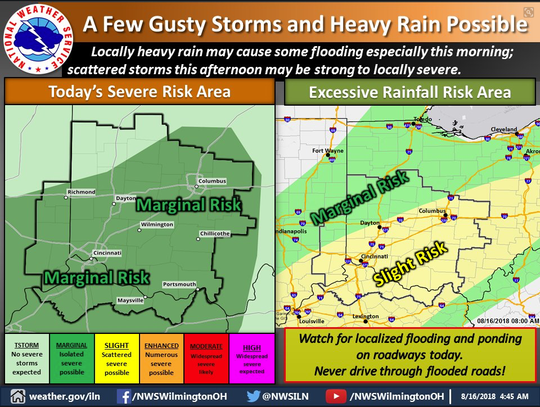Heavy rain may cause flooding Thursday.