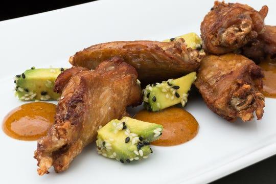 Lemongrass Chicken Wings with Avocado + Stone-Fruit Puree