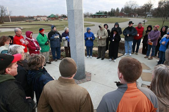 The Greater Anderson Promotes Peace's annual New Year's Day Candlelight Vigil at the Peace Pole in Beech Acres Park.
