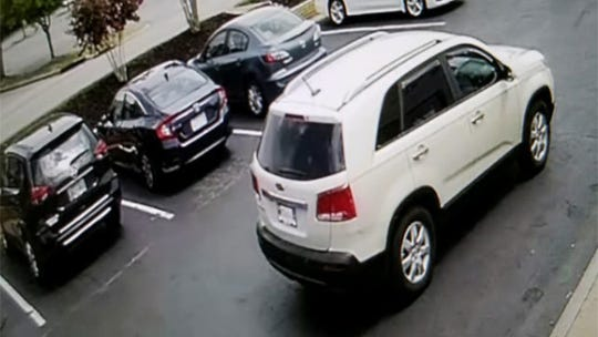 Surveillance footage of the car used by a man who robbed a bank in Nashville on Wednesday.