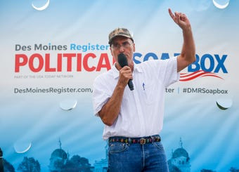 Rick Stewart, Libertarian candidate for secretary of agriculture speaks at The Des Moines Register Political Soapbox