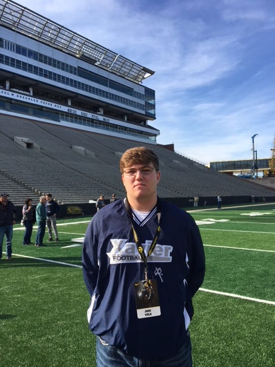 Cedar Rapids Xavier OL Josh Volk poses for a photo during a visit to Iowa.