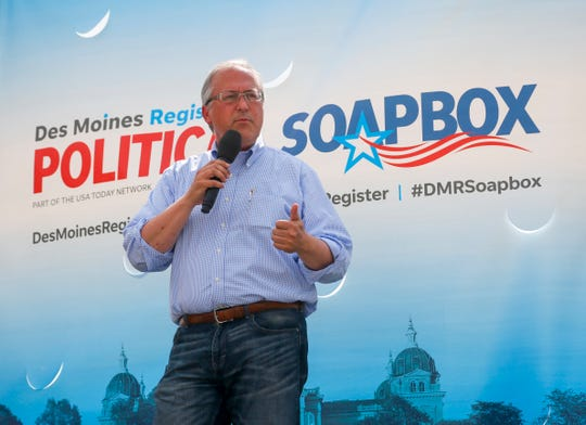 Congressman David Young, Republican Representative for Iowa's 3rd congressional district speaks at The Des Moines Register Political Soapbox Aug. 16, 2018.