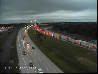 Traffic camera near I-94 and Southfield shows backed up trucks and cars on the westbound interstate.