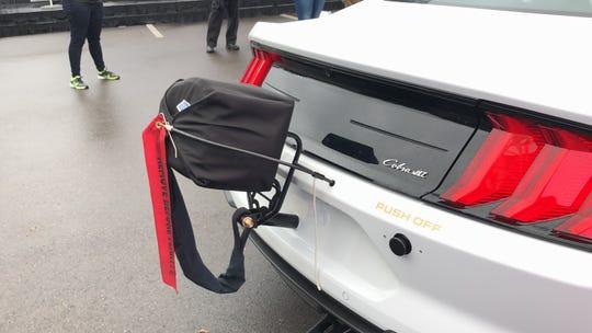 Parachute on 2018 Ford Mustang Cobra Jet drag racer.