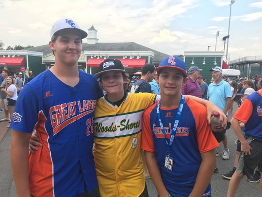 Grosse Pointe Little League's Tyler Hill, Drew Hill, and Brennan Hill stand together outside Lamade Stadium during the opening day of the Little League World Series in Williamsport, Pa. Brennan will represent the Great Lakes regional as did brothers Tyler and Drew.