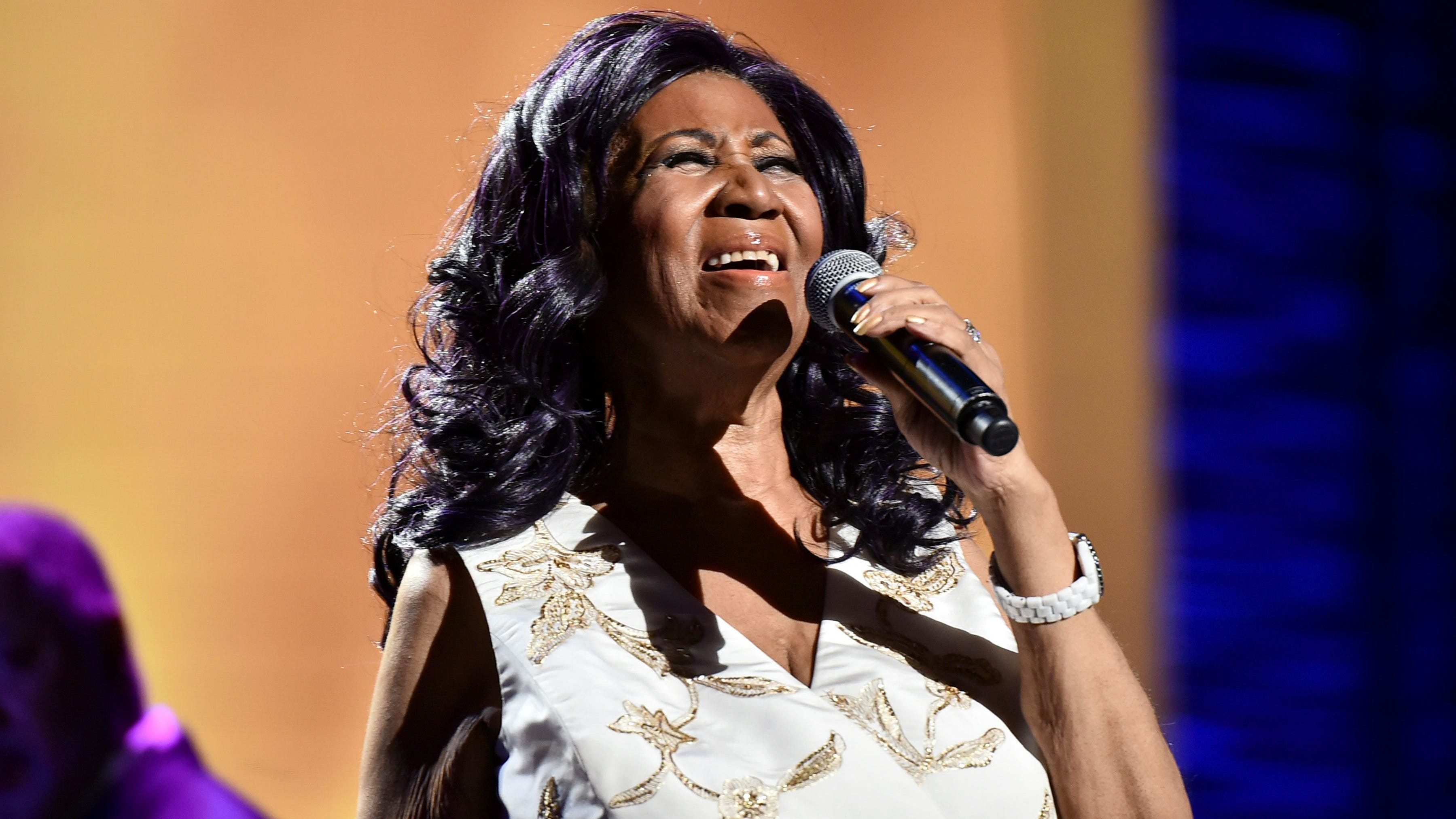 "Aretha Franklin during the ""Clive Davis: The Soundtrack of Our Lives"" concert at the Tribeca Film Festival on April 19, 2017, in New York."